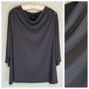 Maggie Barnes Plus 4X 3/4 Sleeve Draped Neck Top